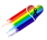 Black ribbon and pride rainbow heart flag. Stock Photos