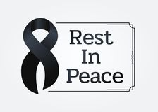 Black ribbon sign and Rest in peace text in line frame for Respect for the funeral vector design Stock Photo