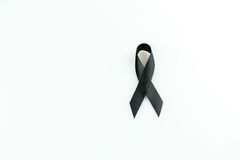 Black ribbon. Sign use for commemorate dead people,isolate on white background Stock Image