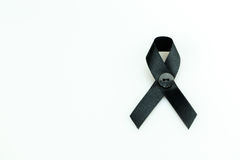 Black ribbon. Sign use for commemorate dead people,isolate on white background Stock Photography
