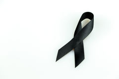 Black ribbon. Sign use for commemorate dead people,isolate on white background Stock Photo