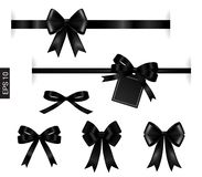 Black ribbon with tag element on white for decoration royalty free illustration