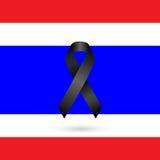 Black ribbon with Thailand  flag Royalty Free Stock Photo