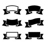 Black ribbons icons set Stock Photography