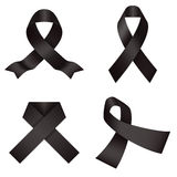 Black ribbons. Melanoma awareness ribbons Royalty Free Stock Photo