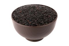 Black rice in the bowl Stock Images