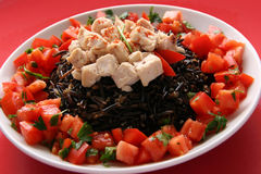 Black rice and chicken. Black rice with boiled chicken breast on a white plate Royalty Free Stock Image