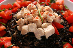 Black rice and chicken. Royalty Free Stock Image