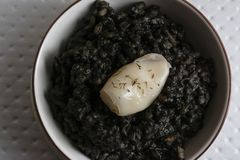 Black rice with cuttlefish, on black cement dish. And grunge background, from above Royalty Free Stock Photos