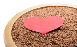 Black rice with heart Royalty Free Stock Photos