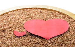 Black rice with heart Stock Photos