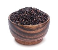 Free Black Rice In Wooden Bowl Isolated On White Background Royalty Free Stock Photography - 103272577