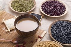 Healthy food. Black rice ,rice, millet, beans, goji wolfberry, and grind up those to make some kind of healthy food flour. It is a popular food in China, and stock images