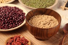 Healthy food. Black rice ,rice, millet, beans, goji wolfberry, and grind up those to make some kind of healthy food flour. It is a popular food in China, and stock photos