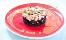Black rice with salmon cream and parsley italy Royalty Free Stock Images
