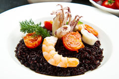 Black rice with sliced squids ,prawns and tomato Stock Photography
