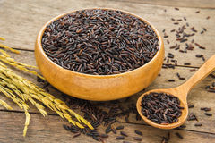 Black rice in wooden bowl Royalty Free Stock Photo