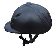 Black riding helmet. Isolated jockey protection on white background. Stock Photos