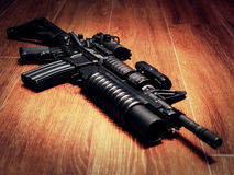 The Black Rifle On The Floor Stock Image