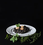 Black risotto and herbs Stock Image