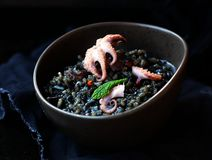 Black risotto with octopus Stock Image