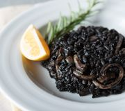 Black risotto with seafood stock photography