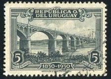 Black River Bridge. URUGUAY - CIRCA 1930: stamp printed by Uruguay, shows Black River Bridge, circa 1930 Stock Photo