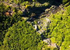 Black River Gorges National park. Aerial view of waterfall in Black River Gorge National Park, Mauritius island Royalty Free Stock Image