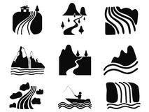 Black river icons set Stock Image