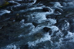 Black river with stones Royalty Free Stock Photos