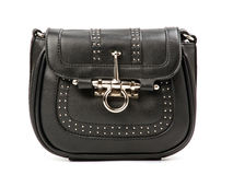 Black rivet bag over white Stock Images
