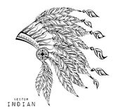 Black roach. Indian feather headdress of eagle. Vector Stock Image