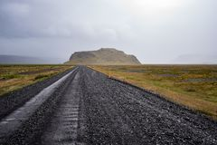 Black road on the foothills Royalty Free Stock Photography