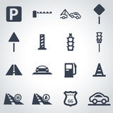 Black road icon set Royalty Free Stock Images