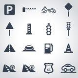 Black road icon set. On grey background Royalty Free Stock Images