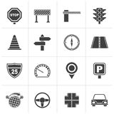 Black Road and Traffic Icons. Vector icon set Royalty Free Stock Photo