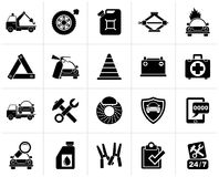 Black Roadside Assistance and tow  icons. Vector icon set Stock Photography