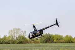 Black Robinson R44 helicopter flying over grass. DOBANOVCI, SERBIA - AUGUST 26, 2017: Black Robinson R44 helicopter flying over grass, operated by Balkan Stock Photos