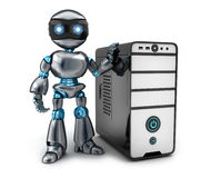Black robot and PC Stock Image