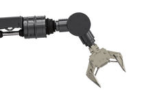Black robotic arm. 3d rendering robotic arm on white background Stock Photo