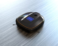 Black robotic vacuum cleaner on laminate flooring. 3D rendering image Royalty Free Stock Photography
