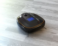 Black robotic vacuum cleaner on laminate flooring. 3D rendering image Stock Photos