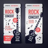 Vector illustration black rock concert ticket design template with black guitar and cool grunge effects in the background. Black rock concert ticket design vector illustration