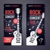 Vector illustration black rock concert ticket design template with black guitar and cool grunge effects in the background. Black rock concert ticket design Royalty Free Stock Photo