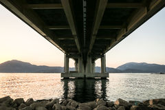 Black Rock Gryones Under Concrete Bridge Stock Images