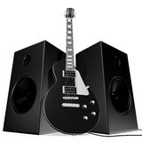 Black rock guitar and speakers Stock Images