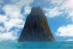 Black Rock Island Landscape in Ocean. 3d Rendering. Black Rock Island Landscape in Ocean extreme closeup. 3d Rendering Royalty Free Stock Photos