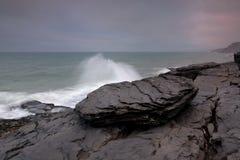 Black rock. Magoito the area, sintra, volcanic rock Stock Image