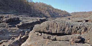 Black rock or mountains,nature landscapes, Lakhnadon India, picture taken on February 2018,landscapes background. Uses for landscapes, backgrounds,etc stock photos