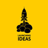 Black rocket and cloud, icon in flat style isolated on yellow background, vector illustration. Yellow rocket and white cloud, icon in flat style isolated on Stock Photos